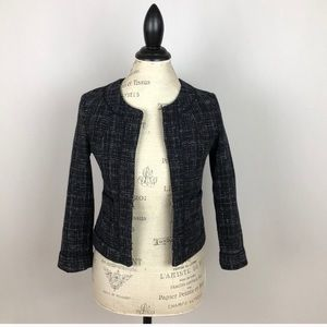 BR tweed black and white lined collarless blazer